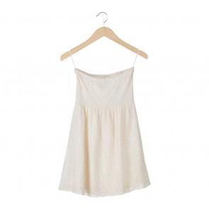 Stradivarius White Lace Tube Mini Dress