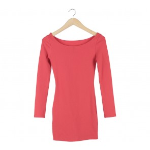 Divided Red Boat Neck Mini Dress