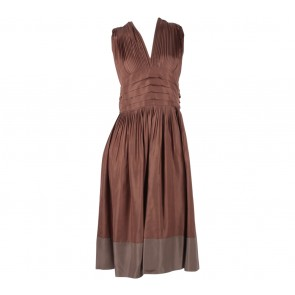 BCBG Brown Pleated Midi Dress
