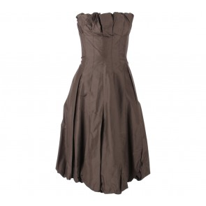 BCBG Dark Brown Ballooney Strapless Midi Dress