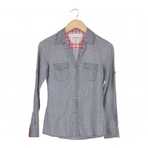 Mango Grey And White Plaid Shirt