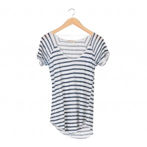 Zara White And Dark Blue Striped T-Shirt