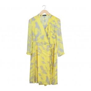 ZR & ZR Yellow And Grey Wrap Midi Dress