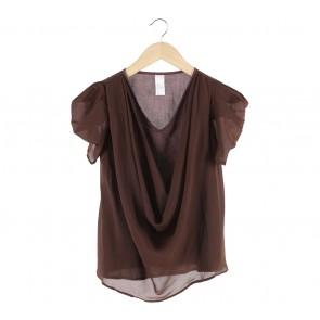 (X)SML Brown Drapped Blouse