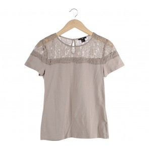 H&M Light Brown Lace Insert T-Shirt