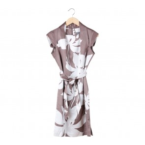 Vesperine Brown And White Leaf Mini Dress