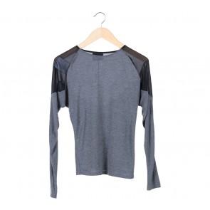 Zara Grey And Black Sheer Insert T-Shirt