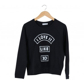 Cotton Ink Black Printed Sweater