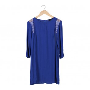 H&M Blue Lace Insert Mini Dress