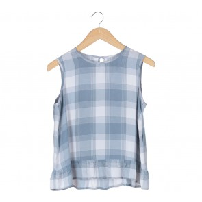 Geulis Blue Plaid Sleeveless Blouse
