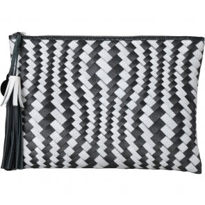 Chameo Couture Black And White Tassels Clutch