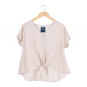 Cotton Ink Cream Tied Blouse