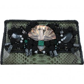 Sabbatha Green Snakeskin Beaded Clutch