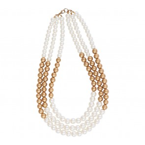 Tea Label White And Gold Necklace Jewellery