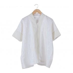 Luminara White Floral Textured Kimono Blouse