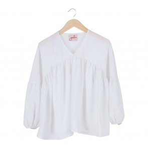 Geulis White Puffy Arm Blouse