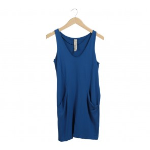 Blue Pocket Sleeveless Dress
