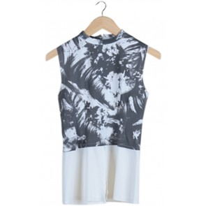 White Abstract Sleeveless Blouse