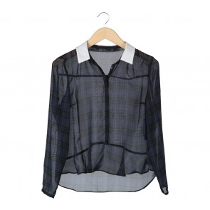 Zara Dark Blue And White Tartan Sheer Blouse