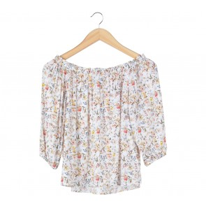 Stradivarius Multi Colour Floral Bardot Blouse