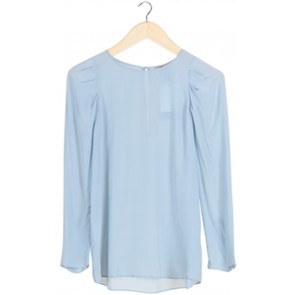 Blue Silk Long Sleeves Blouse