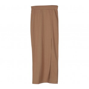 Kivee Brown Slit Midi Skirt