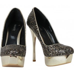 Amante Black And Gold Glittery Platform Heels