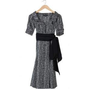 Black and White Printed Midi Dress