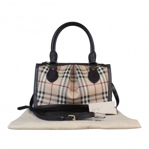 Burberry Brown Small Haymarket Check Tote Bag