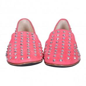 Giuseppe Zanotti Pink Crystal Studded Suede Loafers