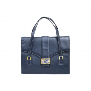 Fendi Dark Blue Leather Hand Bag