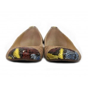 Alexandre Birman Brown Cork and Snakeskin Toe Flats