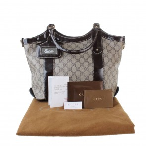 Gucci GG Coateed Canvas/Patent Leather Tote Bag