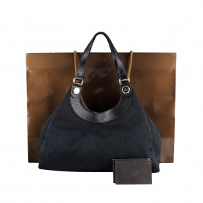 Gucci Hobo Black Canvas Tote Bag