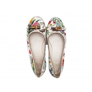 Gucci White Floral Flats