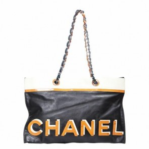 Chanel Black And Yellow Logo and Star Shoulder Bag
