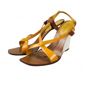 Louis Vuitton Leather Wedge Sandal Yellow Wedges