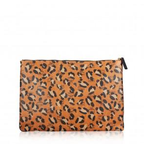 MCM Orange Large Leopard Clutch