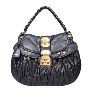 Miu Miu Black Matelasse Coffer Shoulder Bag