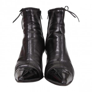 Chanel Black Point Toe CC Leather Boots