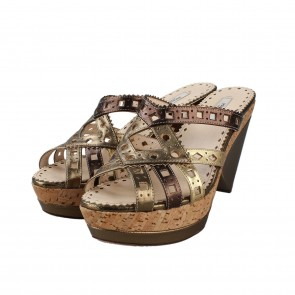 Prada Gold Strap Sandals