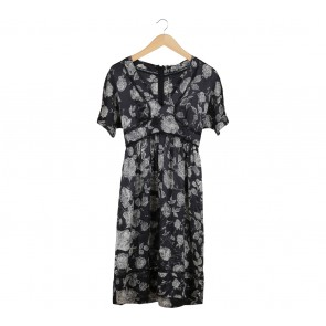 Rebecca Taylor Black Leaf Midi Dress