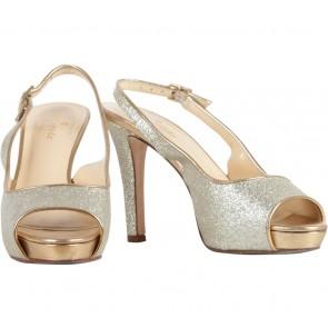Kate Spade Gold Glittery Open Toe Heels