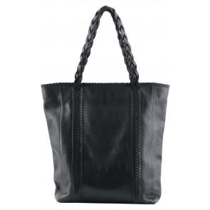 Massimo Dutti Black Leather Tote Bag