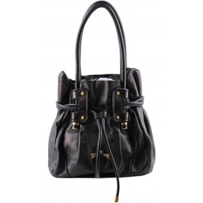 Salvatore Ferragamo Black Leather Shoulder Bag