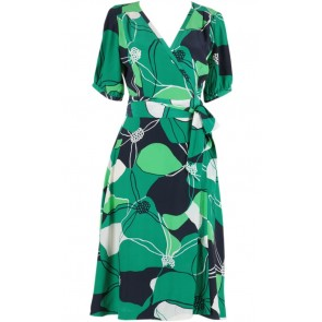 Green and White Slip & Floral Printed Wrap Dress