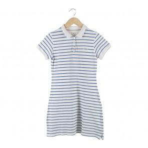 Hush Puppies Blue And Off White Striped Mini Dress