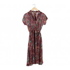 Odd&Dot Maroon Floral Midi Dress