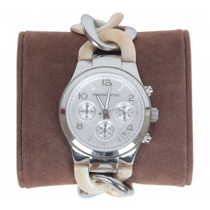 Michael Kors Cream And Silver Watch