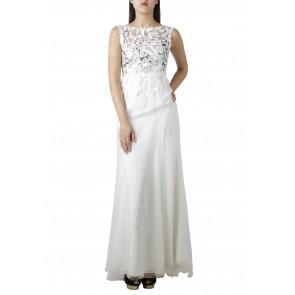 Andhita Siswandi Off White See Thru Low Back Long Dress